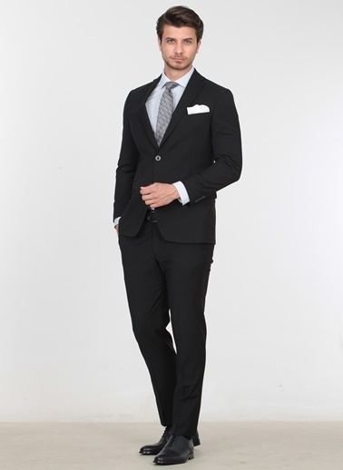 Kip Kip Regular Fit Düz Siyah Takım Elbise Siyah